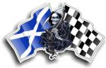 DEATH The Grim Reaper Design With Scotland Scottish Saltire Flag Motif Vinyl Car Sticker 130x80mm